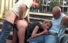 Julie Silver FFM public threesome