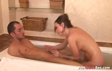 Slim Easter European babe fucked and facialized