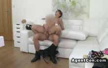 Czech beauty riding cock on casting