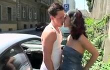 European couple having sex in public